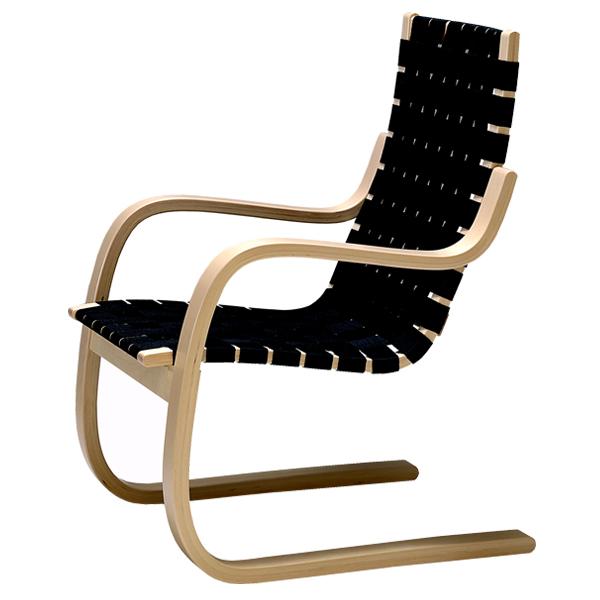 Artek Aalto nojatuoli 406, musta | Finnish Design Shop
