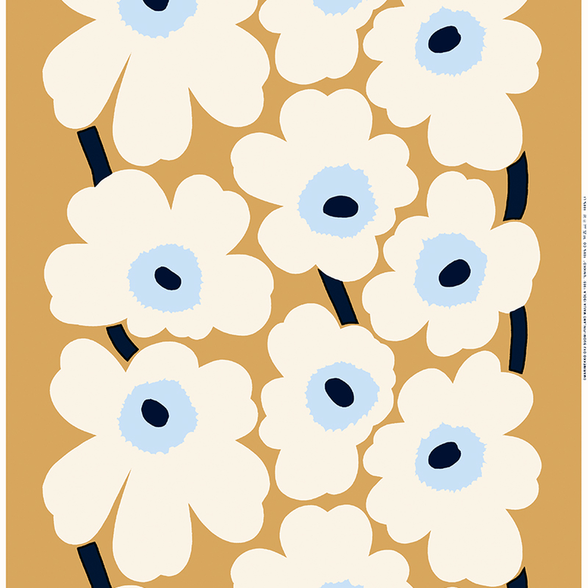 marimekko unikko fabric beige off white blue finnish design shop. Black Bedroom Furniture Sets. Home Design Ideas