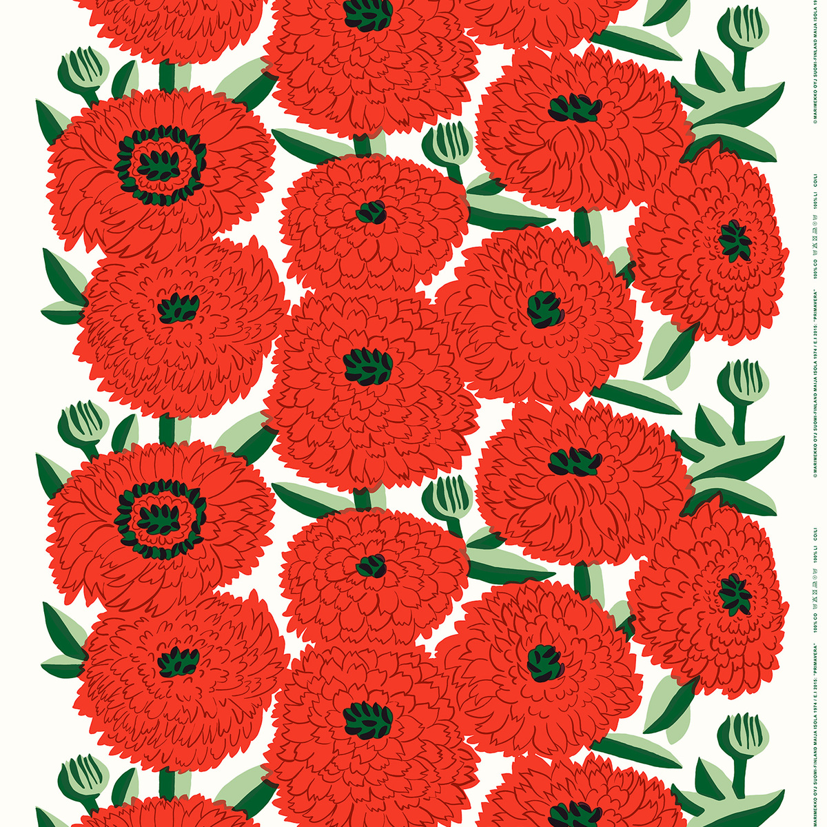 FQ Mini Flowers in White on Red 100/% Cotton Fabric by Copenhagen Print Factory