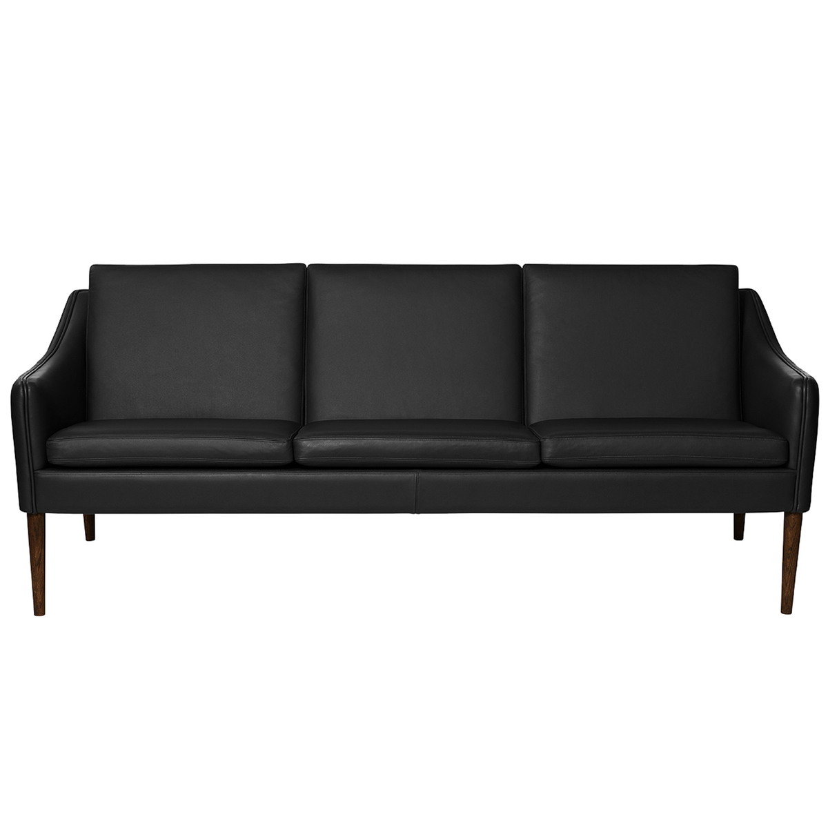 Warm Nordic Mr Olsen Sofa 3 Seater Walnut Black Leather