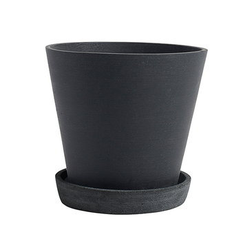 Hay Flowerpot and saucer, L, black