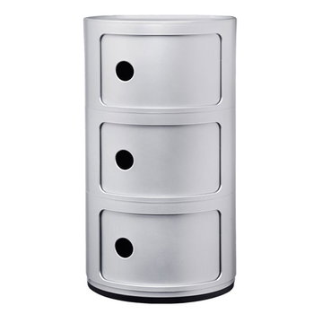 Kartell Componibili storage unit, 3 modules, silver