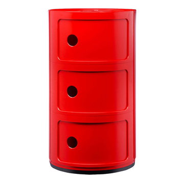Kartell Componibili storage unit, 3 modules, red