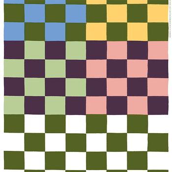 Marimekko Kukko Ja Kana fabric, green-purple-yellow-blue