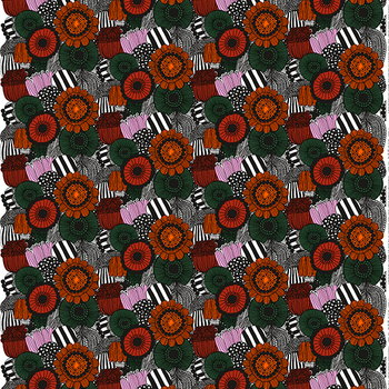 Marimekko Pieni Siirtolapuutarha fabric, orange - green