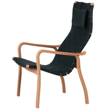 Swedese Primo nojatuoli korkea selkänoja, musta nahka