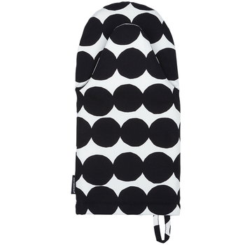 Marimekko Räsymatto oven mitten, black-white