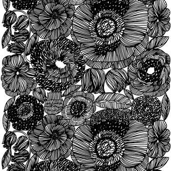 Marimekko Kurjenpolvi fabric, black