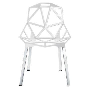 Magis Chair One, white, polished aluminium legs