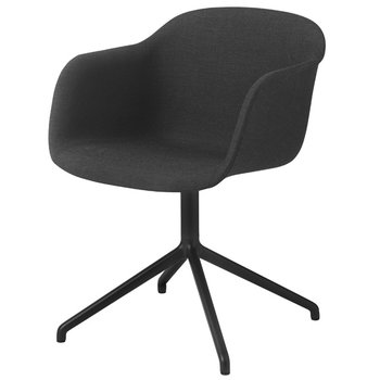 Muuto Fiber armchair, swivel base with return, Remix 183/black