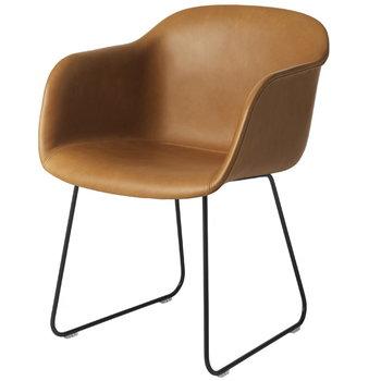 Muuto Fiber armchair, sled base, cognac leather/black