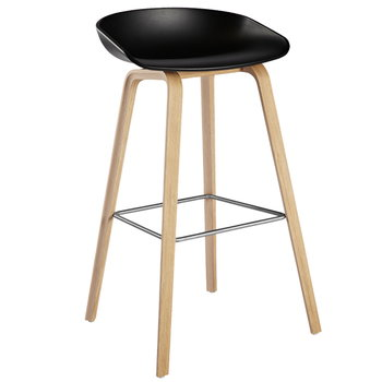 Hay About a Stool bar stool, AAS32, black - soaped oak