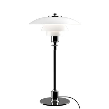 Louis Poulsen PH 2/1 table lamp, chrome plated, opal glass