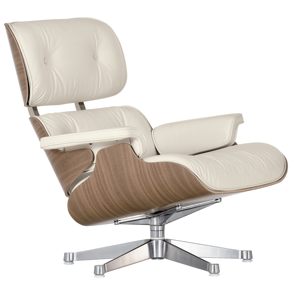 Astounding Eames Lounge Chair Classic Size White Walnut White Leather Machost Co Dining Chair Design Ideas Machostcouk