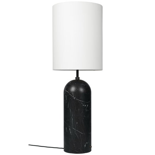 Gubi Gravity XL floor lamp, high, black marble - white