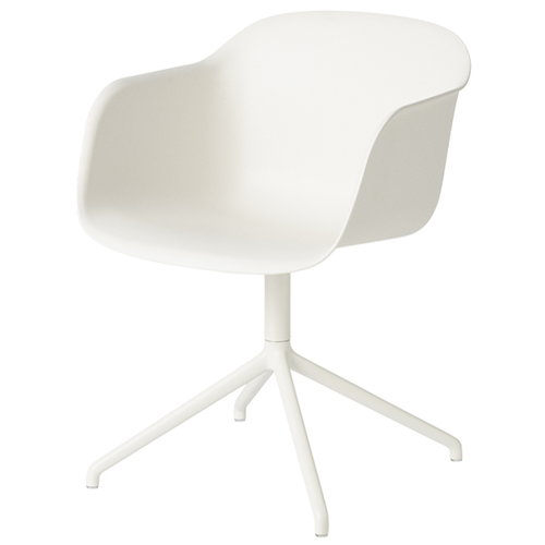 Muuto Fiber armchair, swivel base, natural white/white
