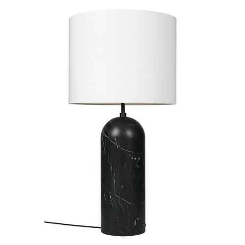 Gubi Gravity XL floor lamp, low, black marble - white