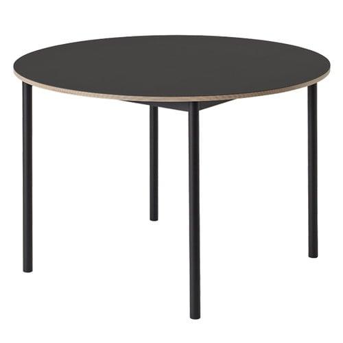 Muuto Base pöytä pyöreä 110 cm, linoleumi vanerireunalla, musta
