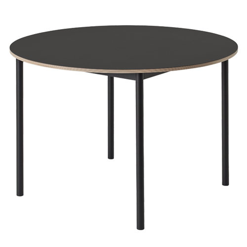 Muuto Base table round 110 cm, linoleum with plywood edges, black