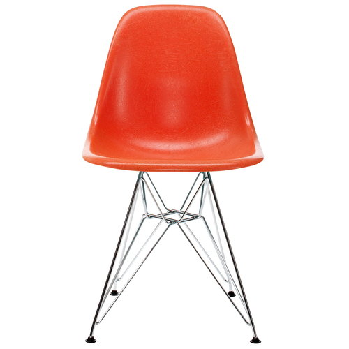 Vitra Eames DSR Fiberglass Chair, red orange - chrome
