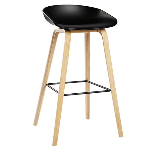 Hay About A Stool AAS32, black - soaped oak, black footrest
