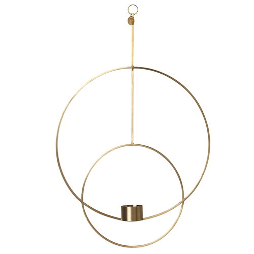 Ferm Living Hanging tealight holder, round, brass