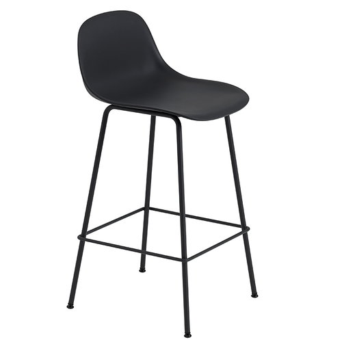 Muuto Fiber bar stool with backrest, tube base, black