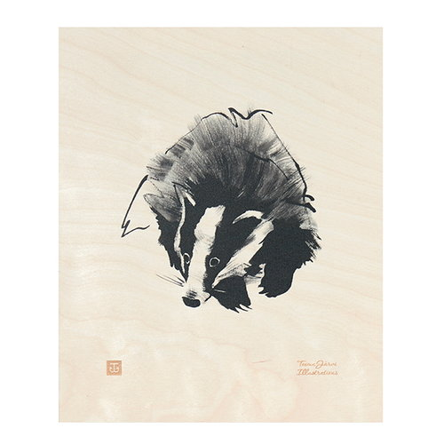 Teemu J�rvi Illustrations Badger plywood poster