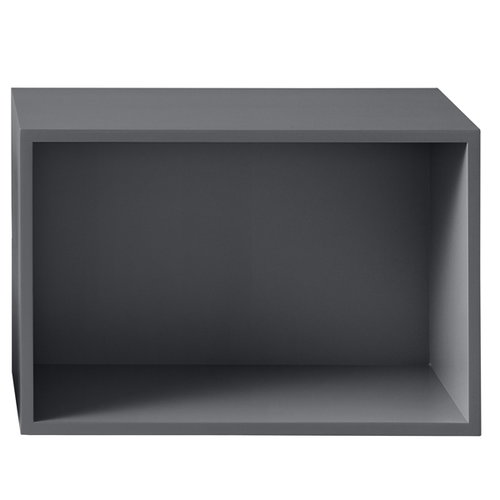 Muuto Stacked shelf module with backboard large, dark grey