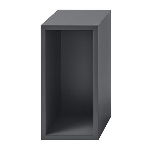 Muuto Stacked shelf module with backboard small, dark grey