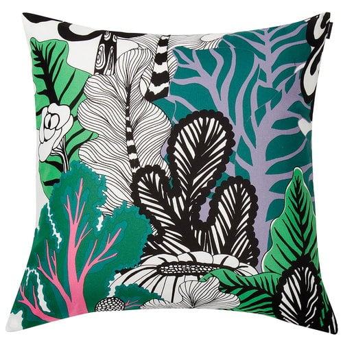 Marimekko Kaalimets� cushion cover, white - green - purple