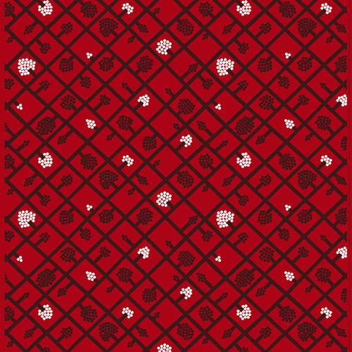 Marimekko Spalj� fabric, red-plum-white