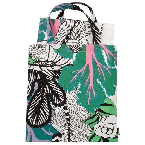 Marimekko Kaalimetsä  bag & fabric set, white-green-purple
