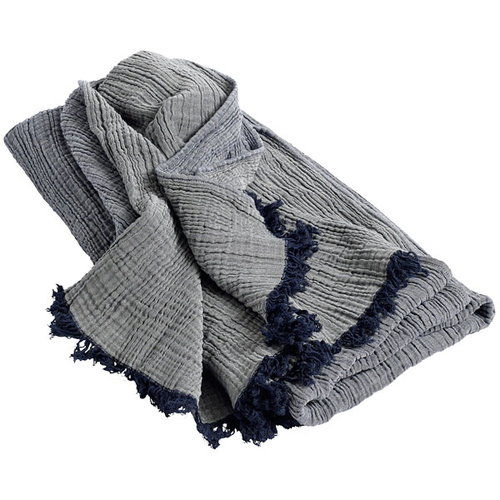 Hay Crinkle throw, navy blue