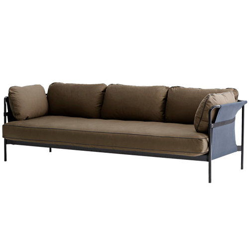 Hay Can sofa 3-seater, black-blue frame, Army Canvas