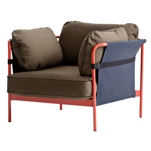 Hay Can 1-seater, red-blue frame, Army Canvas