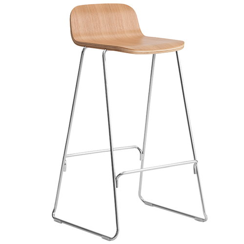 Normann Copenhagen Just Barstool 75 cm, with back rest, oak - chrome