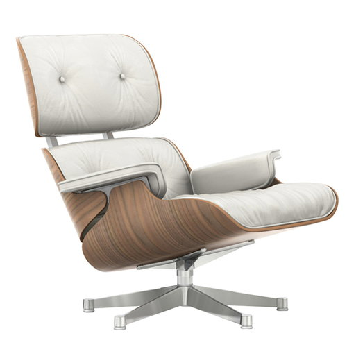 Vitra Lounge Chair, white-pigmented walnut - white leather
