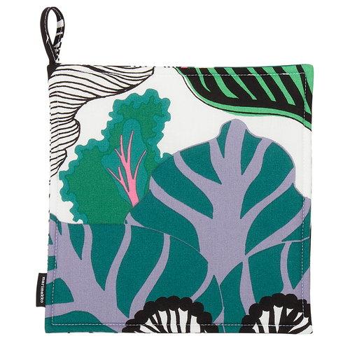 Marimekko Kaalimets� pannulappu, valkoinen-vihre�-violetti