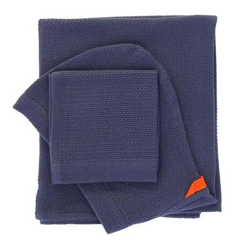 Ekobo Baby hooded towel and wash cloth set, midnight blue