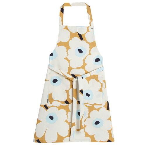 Marimekko Pieni Unikko apron, beige-off white-blue