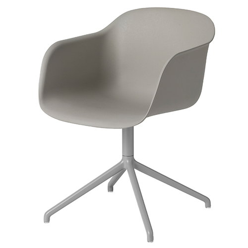 Muuto Fiber tuoli käsinojilla, pyörivä, harmaa