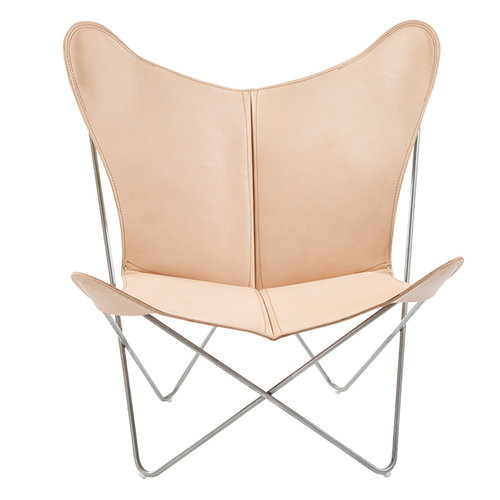 OX Denmarq Trifolium chair, brushed stainless steel - natural