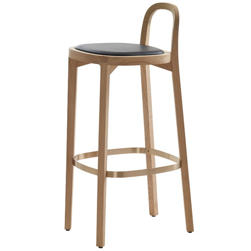 Woodnotes Siro+ bar stool 75 cm, oak - black leather