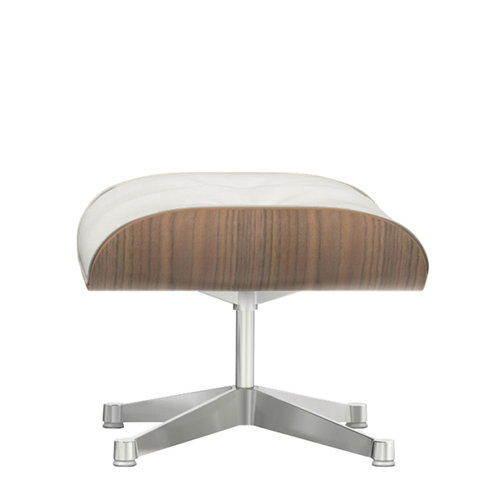 Vitra Lounge Ottoman, white-pigmented walnut - white leather