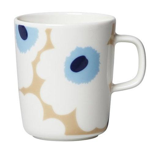Marimekko Oiva - Unikko mug, 2,5 dl, beige-off white-blue