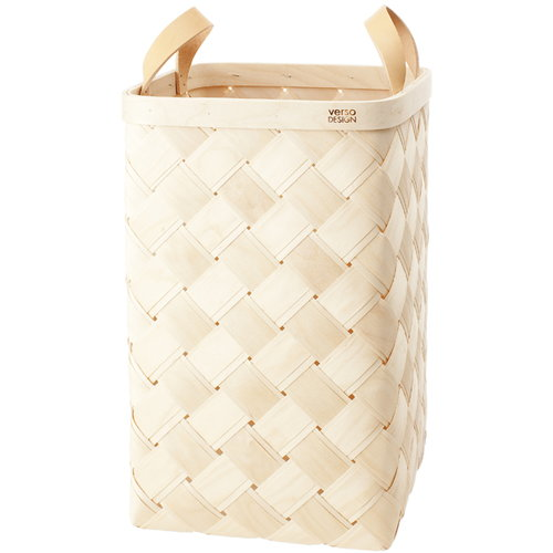 Verso Design Lastu birch basket XL, leather handles