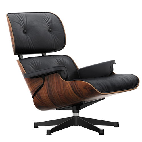 Vitra Eames Lounge Chair, new size, palisander - black leather