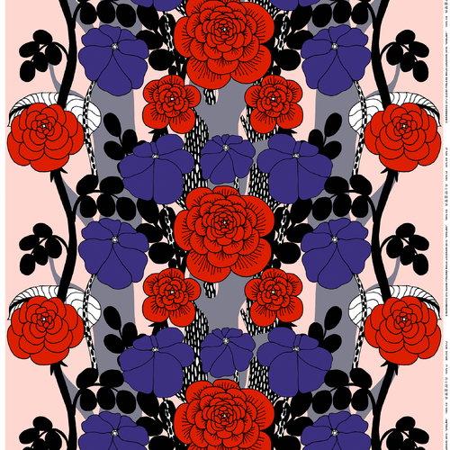 Marimekko Unelma kangas, vaaleanpunainen-punainen-violetti