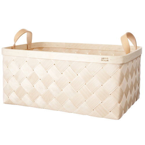 Verso Design Lastu birch basket XXL, leather handles